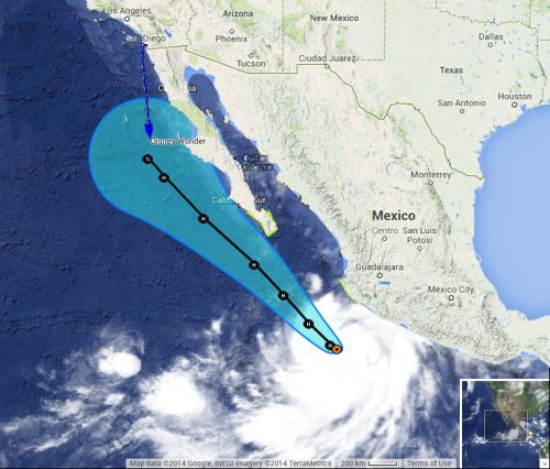 Disney Wonder EBPC Hurricane Odile Forecast Track 20140913 AM