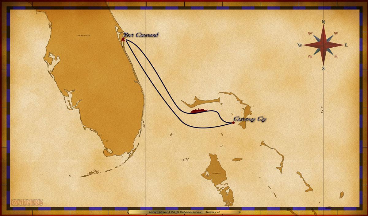 Map Dream 3 Night Bahamian Itinerary H