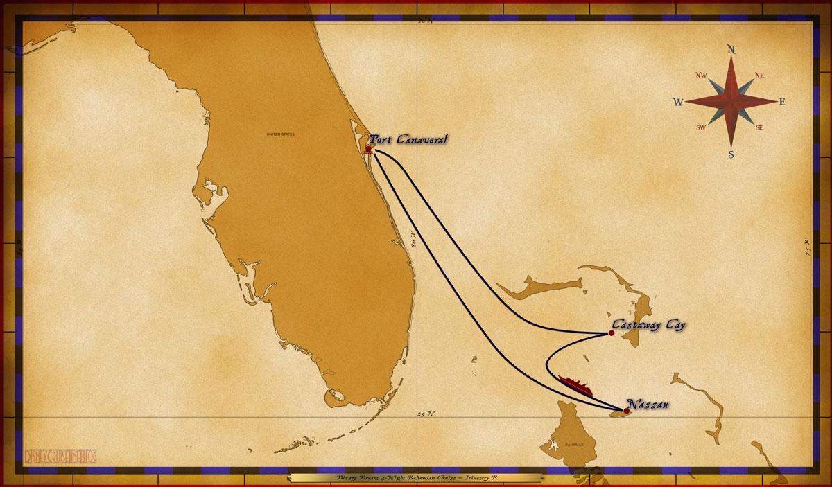 Map Dream 4 Night Bahamian Itinerary B