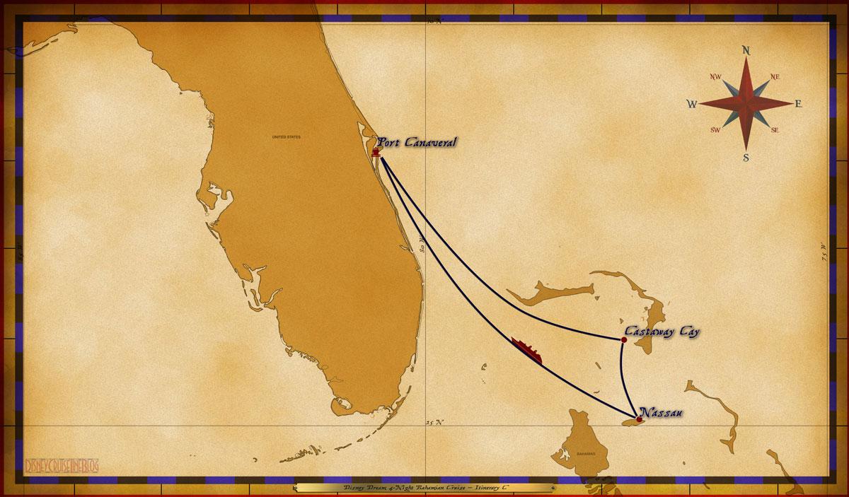 Map Dream 4 Night Bahamian Itinerary C
