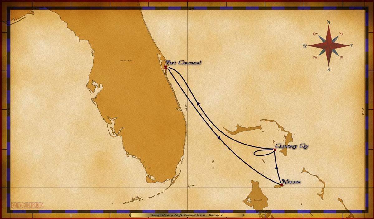 Map Dream 4 Night Bahamian Itinerary F