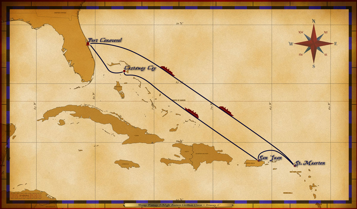Map Fantasy 7 Night Eastern Caribbean Itinerary C
