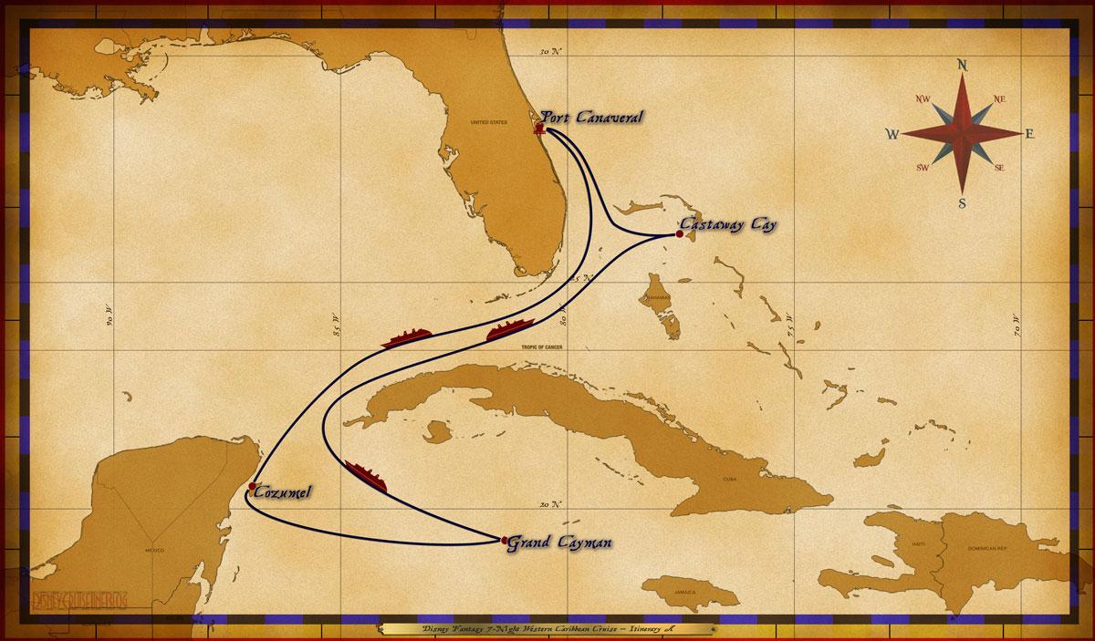 Map Fantasy 7 Night Western Caribbean Itinerary A