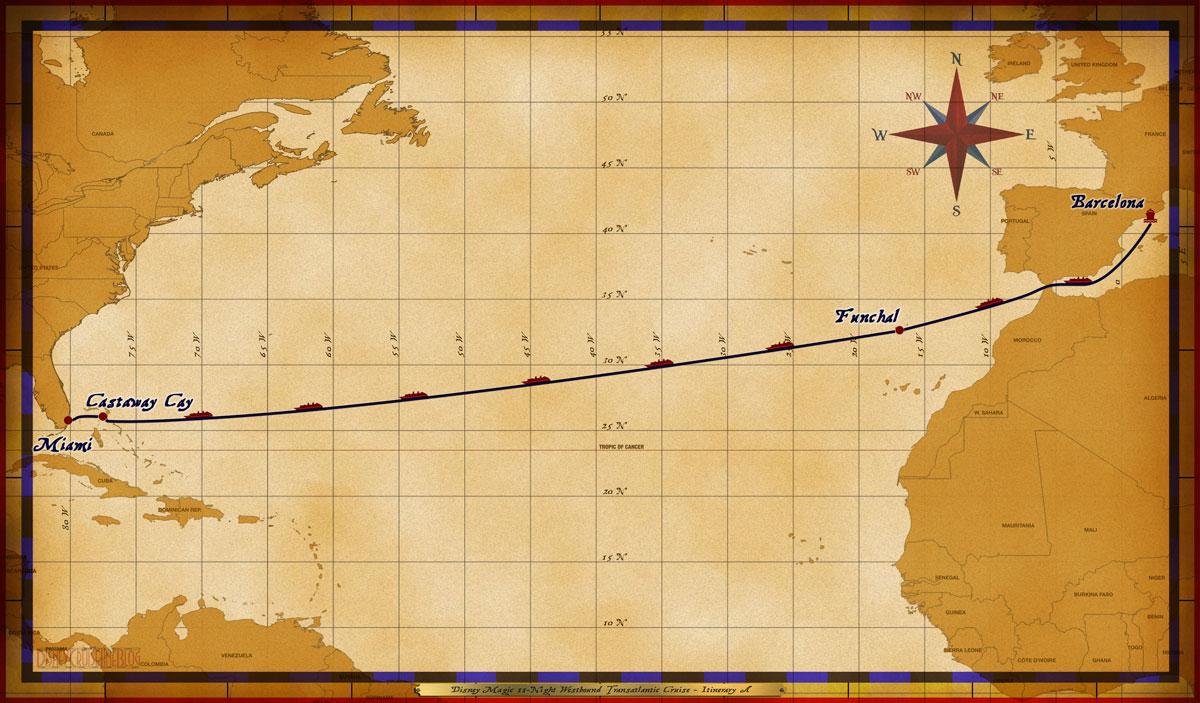Map Magic 11 Night Westbound Transatlantic Itinerary A