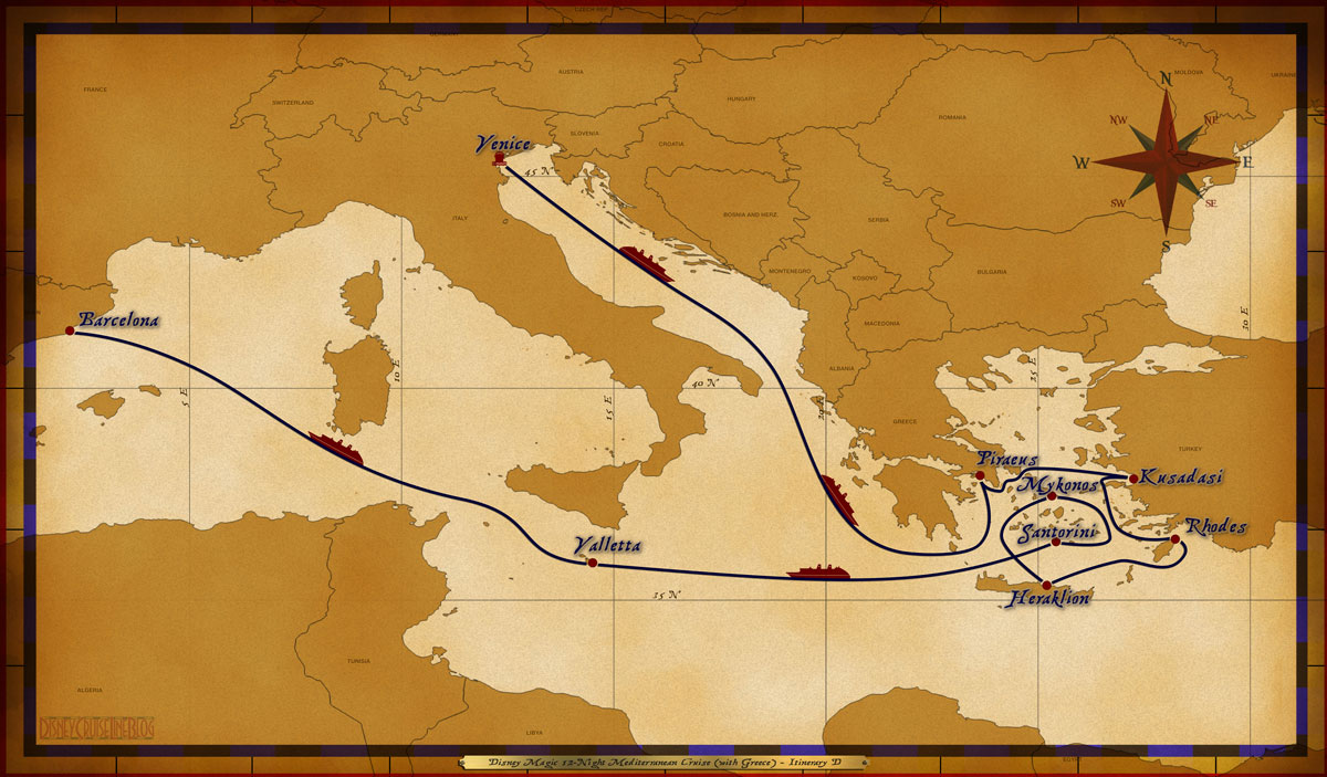 Map Magic 12 Night Mediterranean With Greece Itinerary D Venice To Barcelona