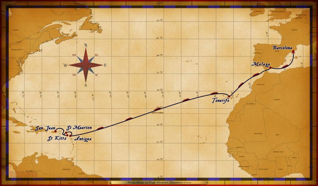 Barcelona • At Sea • Malaga • At Sea • At Sea • Tenerife • At Sea • At Sea • At Sea • At Sea • At Sea • Antigua • St. Maarten • St. Kitts