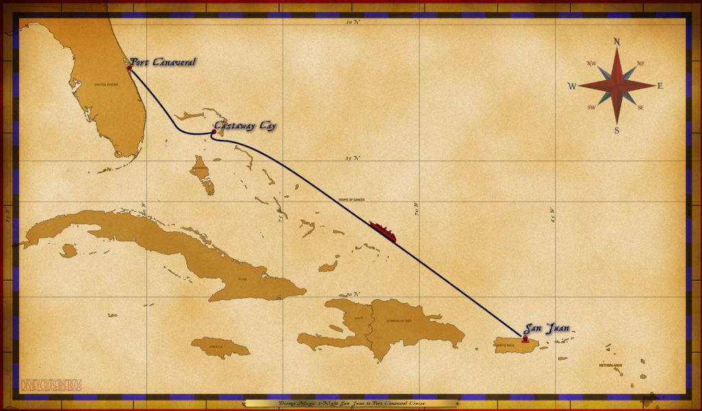 Map Magic 3 Night San Juan To Port Canaveral Cruise
