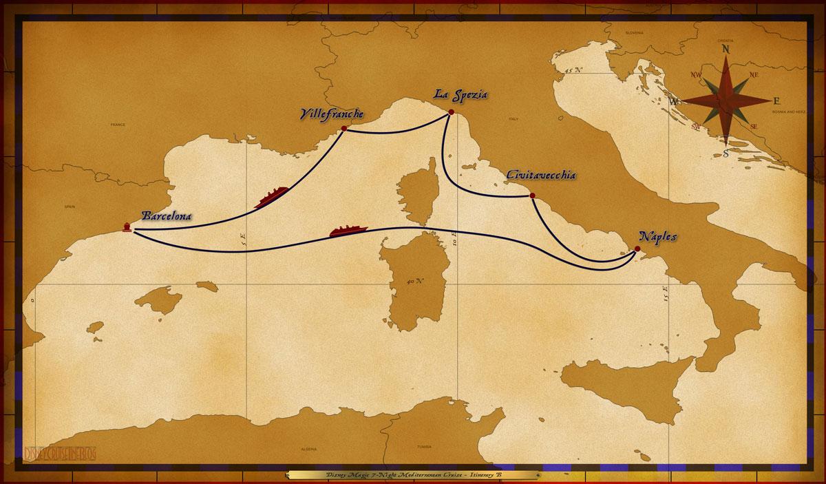 Map Magic 7 Night Mediterranean Itinerary B