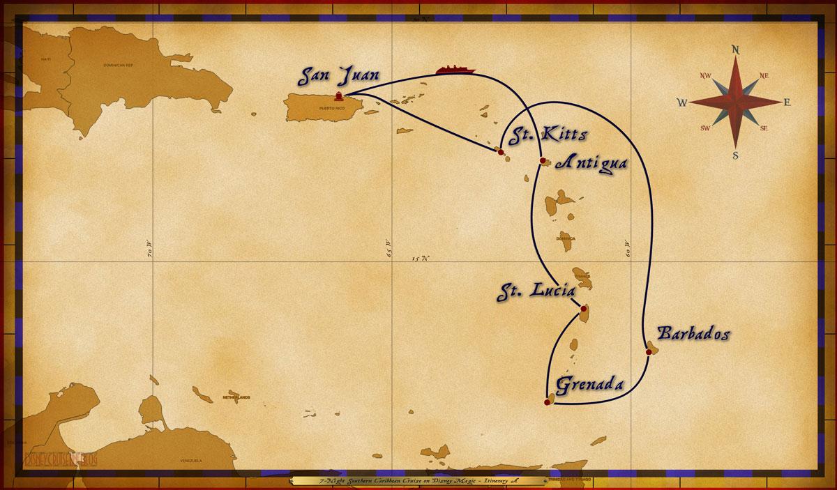 Map Magic 7 Night Southern Caribbean Itinerary A