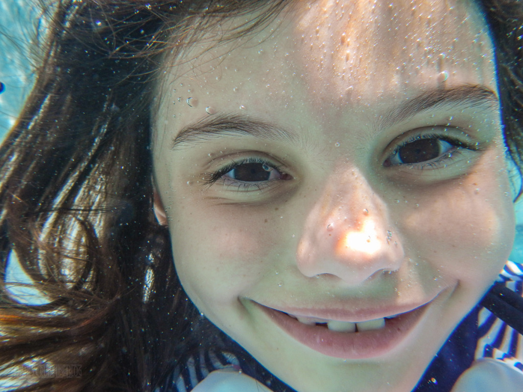 Isabelle's Goofy Pool Underwater Selfie