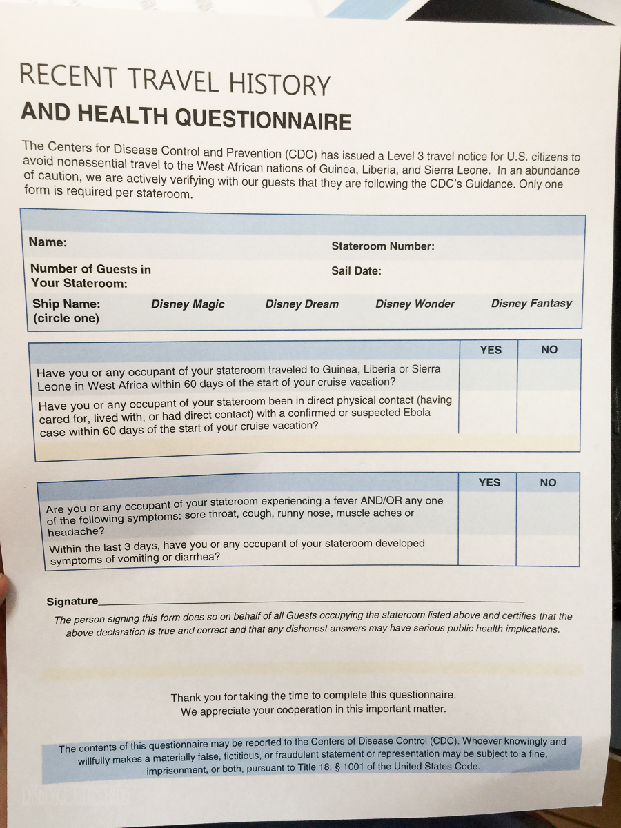 DCL Recent Travel History Health Questionnaire Ebola