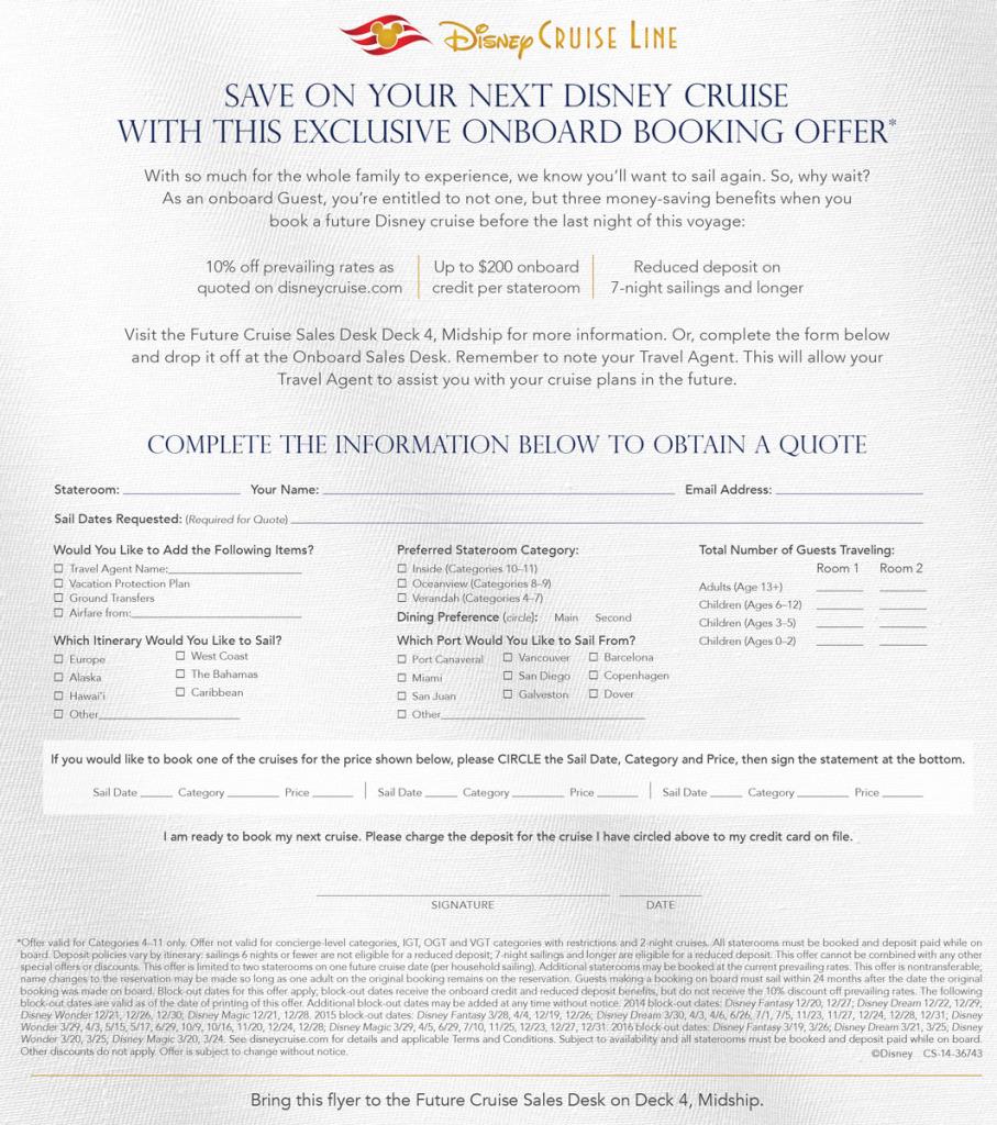 DCL OnboardFlier October2014 2016 Blockout Dates