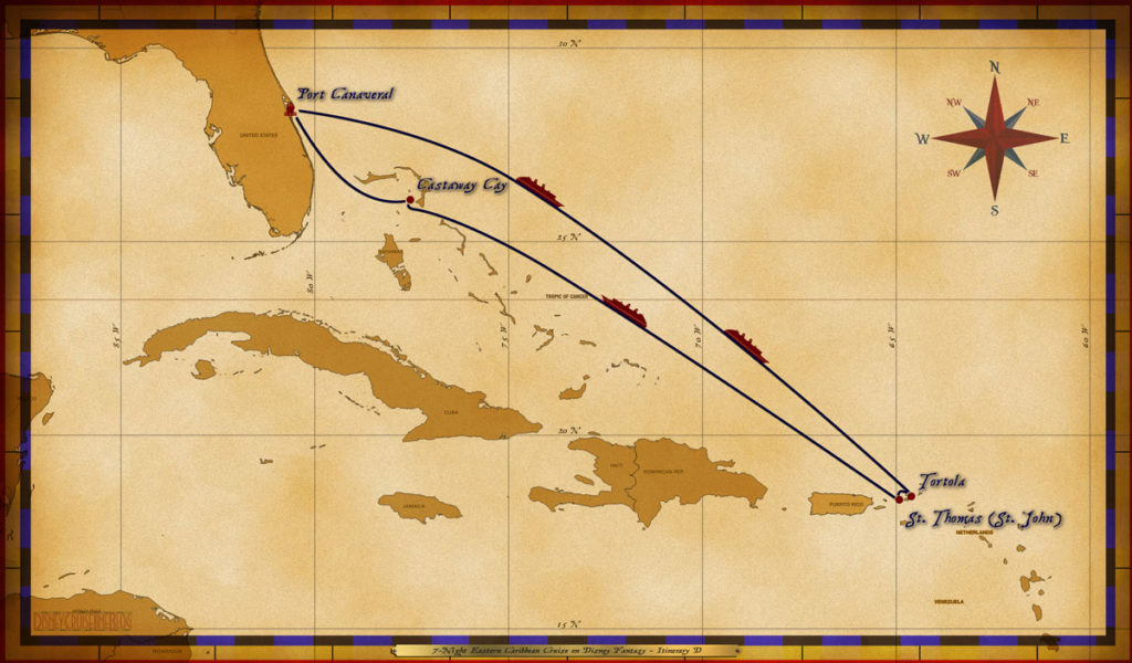 Map Fantasy 7 Night Eastern Caribbean Itinerary D