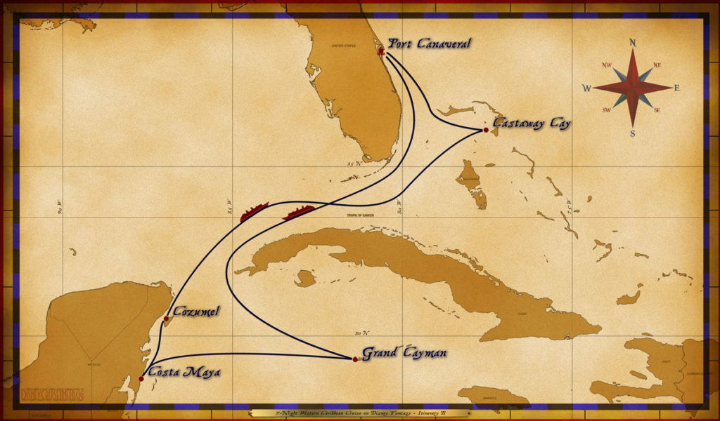 Map Fantasy 7 Night Western Caribbean Itinerary B