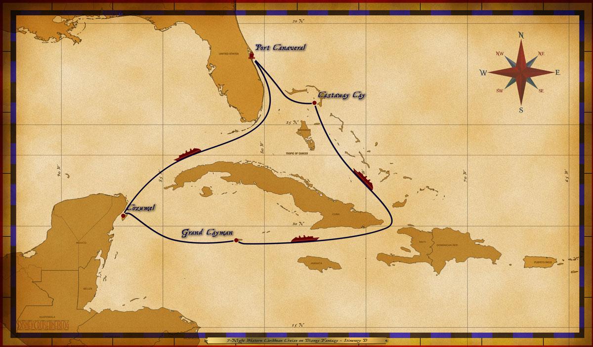 Map Fantasy 7 Night Western Caribbean Itinerary D
