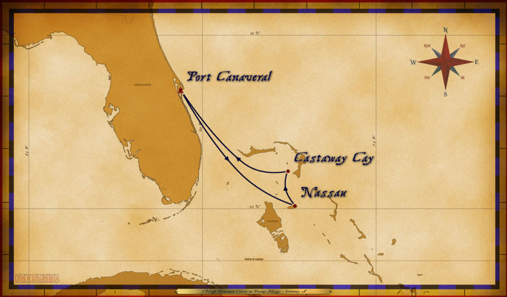Map Magic 3 Night Bahamian Cruise Itinerary A