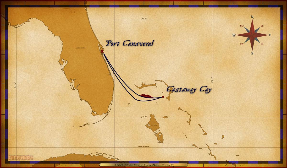 Map Magic 3 Night Bahamian Cruise Itinerary B