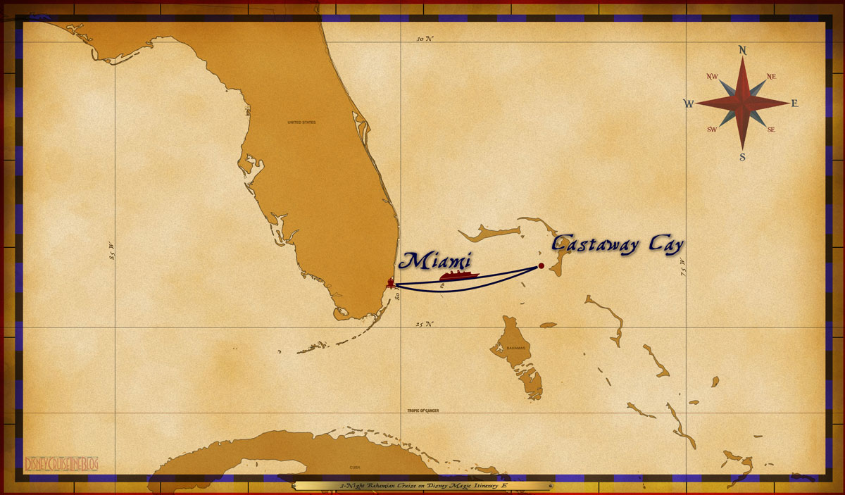 Map Magic 3 Night Bahamian Cruise Itinerary E