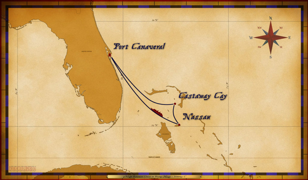 Map Magic 4 Night Bahamian Cruise Itinerary C