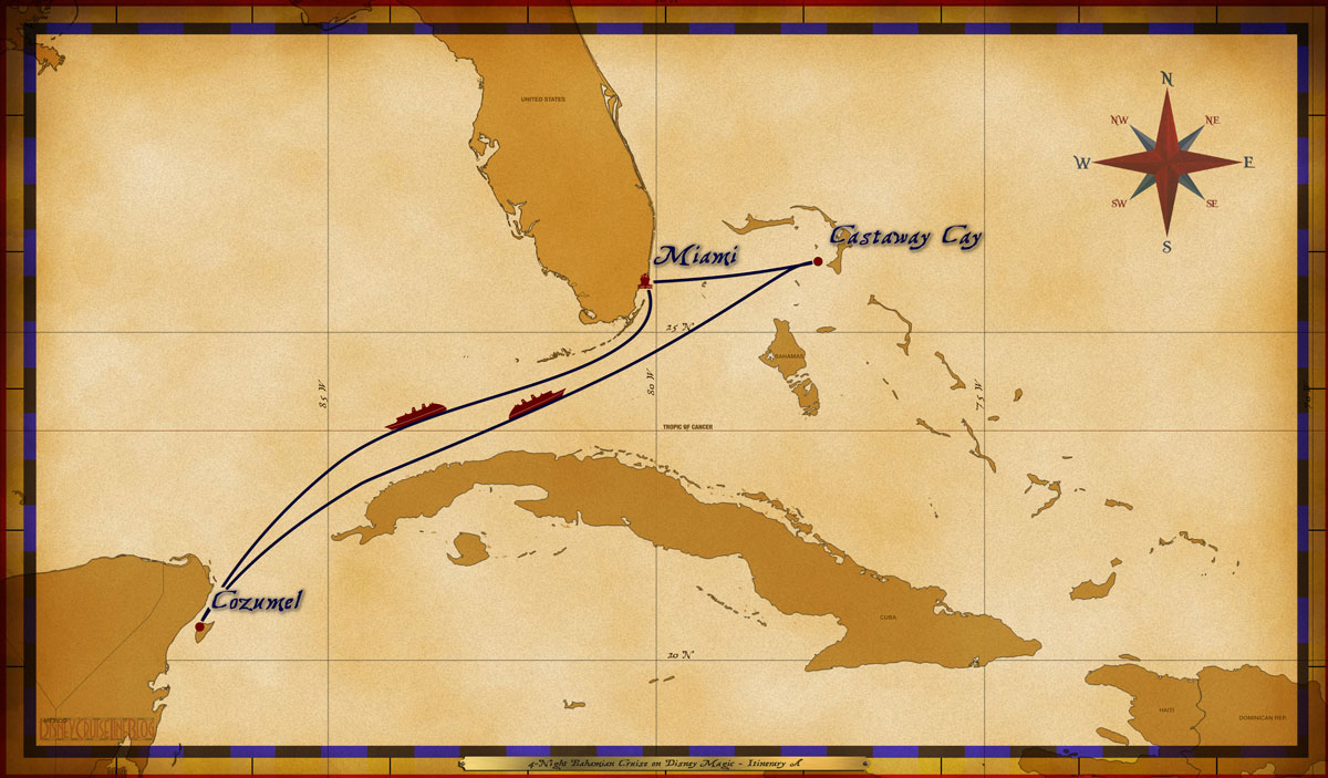 Map Magic 5 Night Western Caribbean Cruise Itinerary A