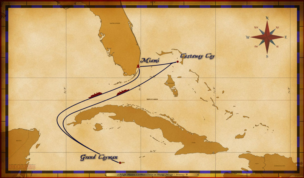 Map Magic 5 Night Western Caribbean Cruise Itinerary B