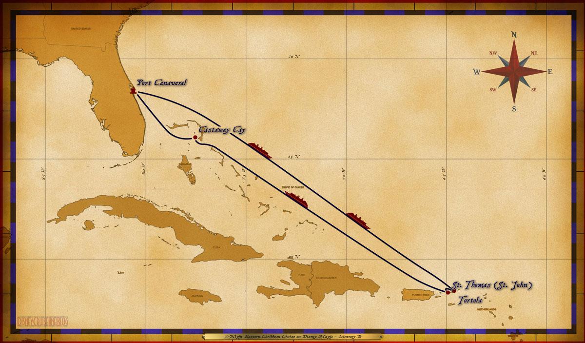 Map Magic 7 Night Eastern Caribbean Cruise Itinerary B