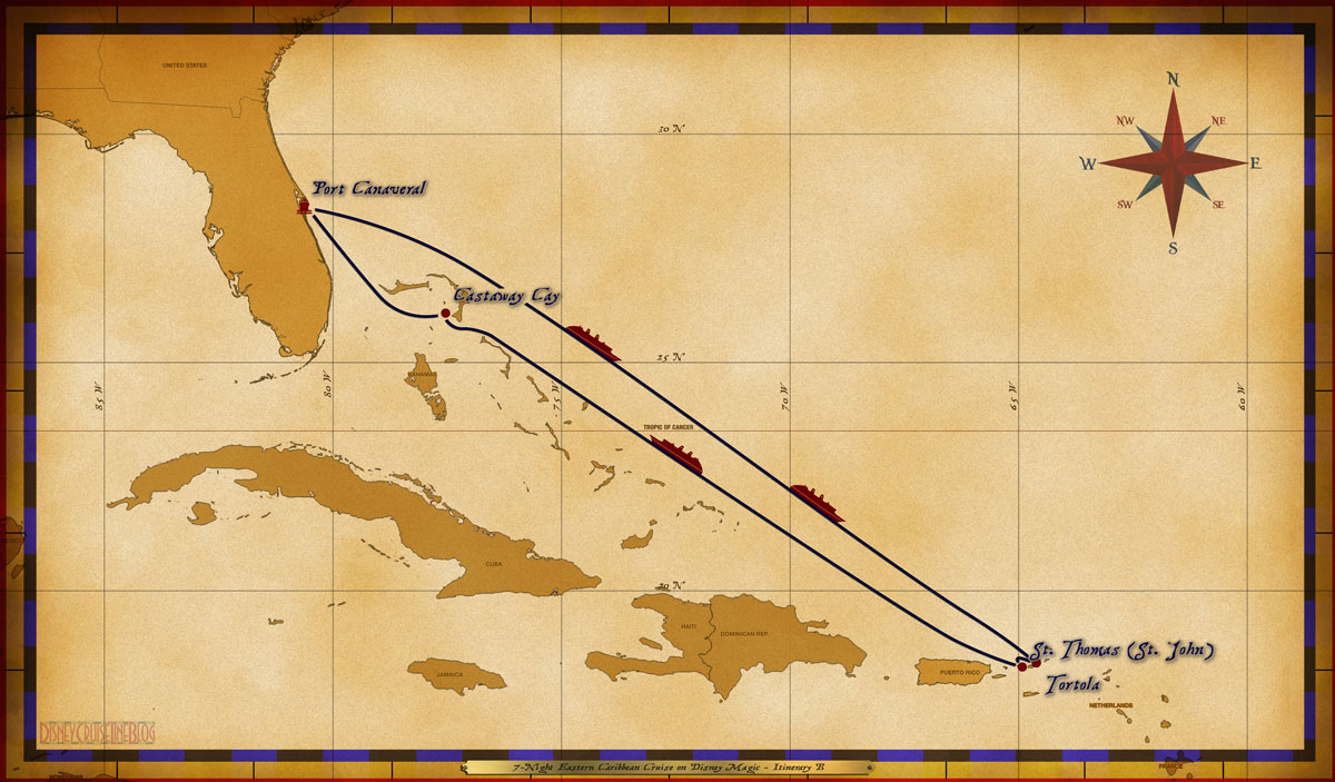 Map Magic 7 Night Eastern Caribbean Cruise Itinerary B