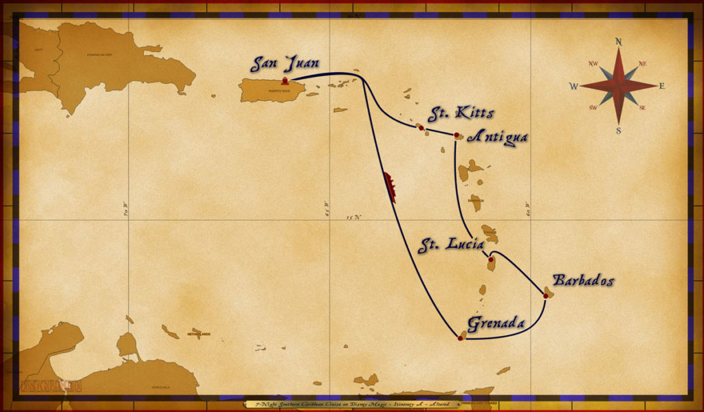 Map Magic 7 Night Southern Caribbean Itinerary A Altered