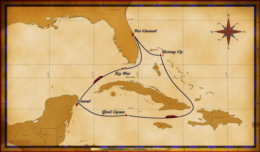 Map Magic 7 Night Western Caribbean Cruise Itinerary A