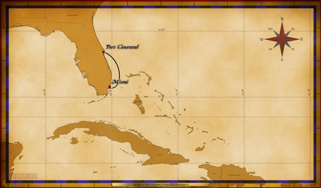 Map Magic Miami To Port Canaveral Cruise No Passengers