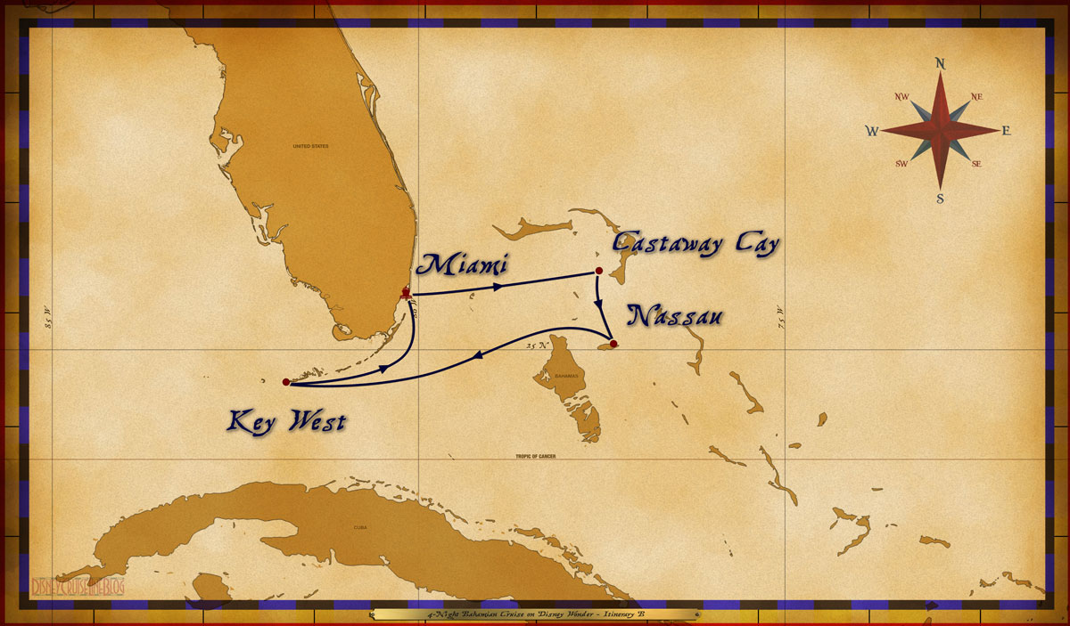 Map Wonder 4 Night Bahamian Itinerary B