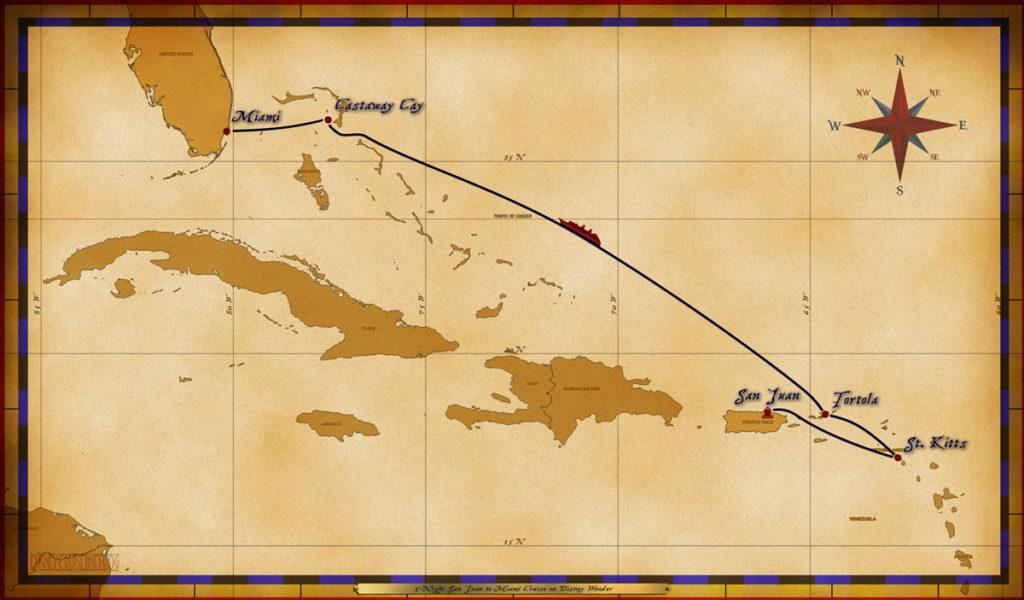 Map Wonder 5 Night San Juan To Miami Cruise