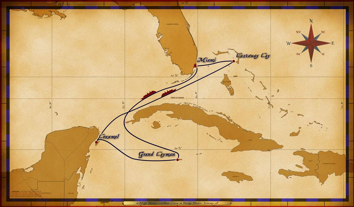 Map Wonder 6 Night Western Caribbean A