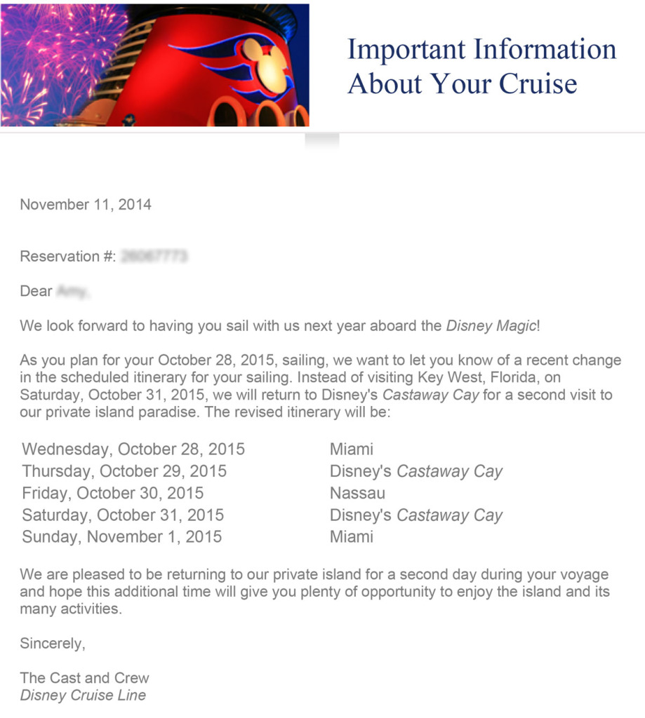 DCL Email Magic 20151028 Itinerary Change