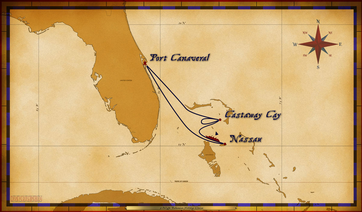 Map Dream 5 Night Bahamian Holiday Cruise