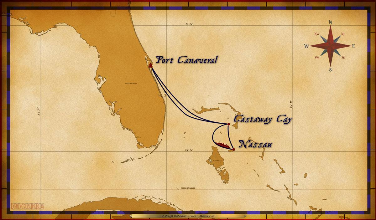 Map Dream 5 Night Bahamian Itinerary A 2011 2012