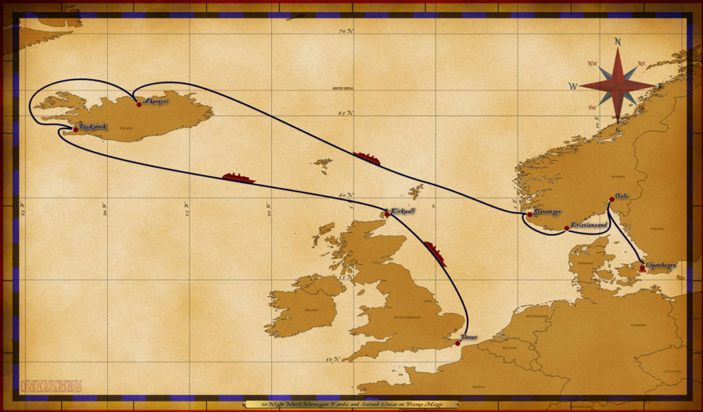 Map Magic 11 Night North Norwegian Fjords And Iceland Cruise On Disney Magic Itinerary A