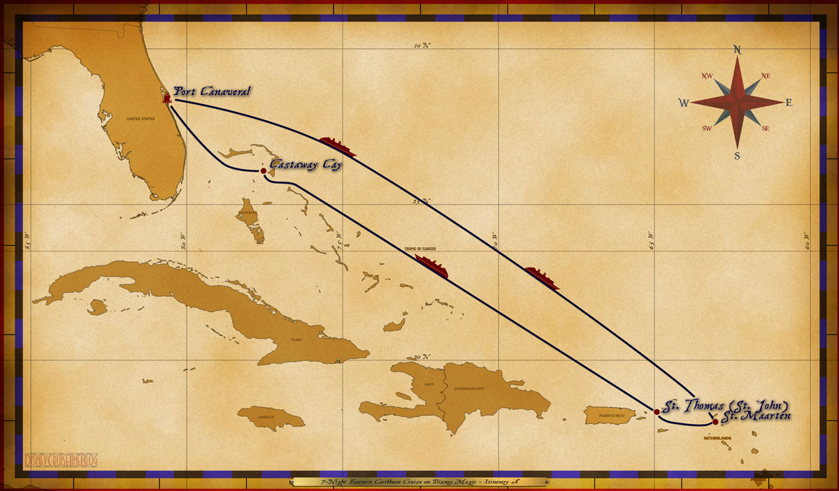 Map Magic 7 Night Eastern Caribbean Cruise Itinerary A