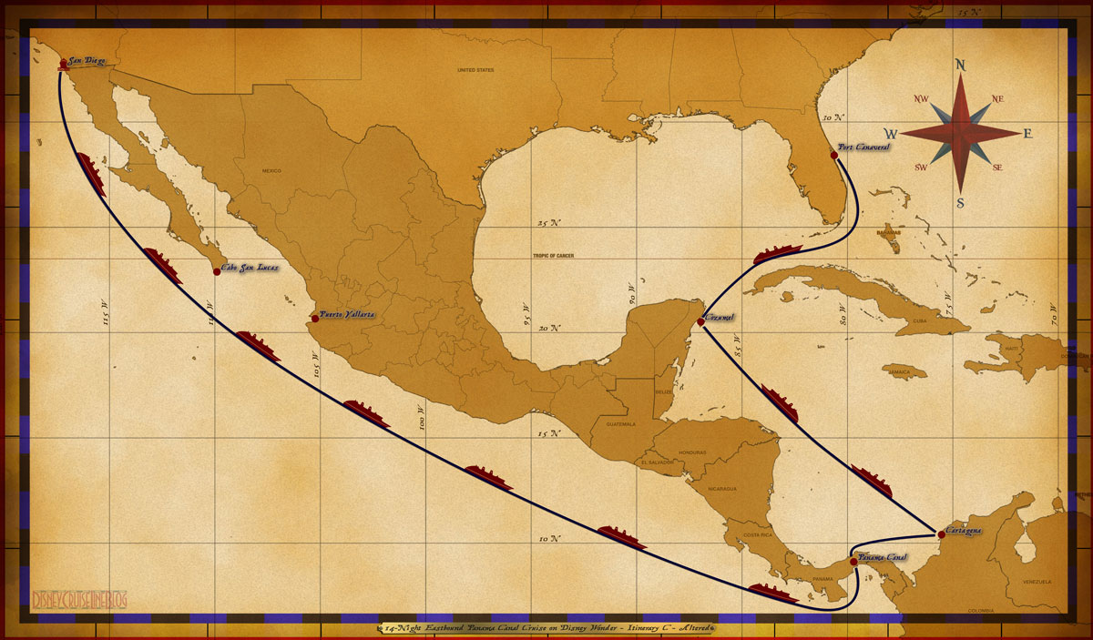 Map Wonder 14 Night Eastbound Panama Canal Cruise Itinerary C Altered