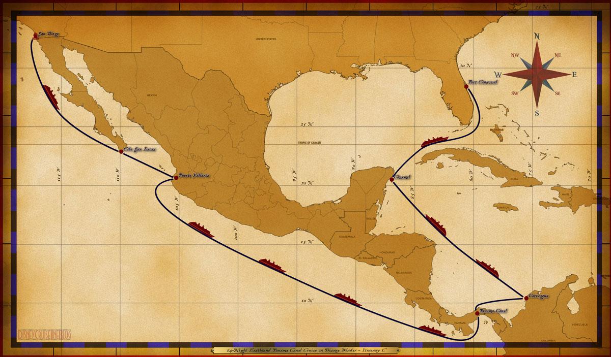 Map Wonder 14 Night Eastbound Panama Canal Cruise Itinerary C