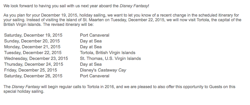 DCL Fantasy 20151219 Itinerary Change Email