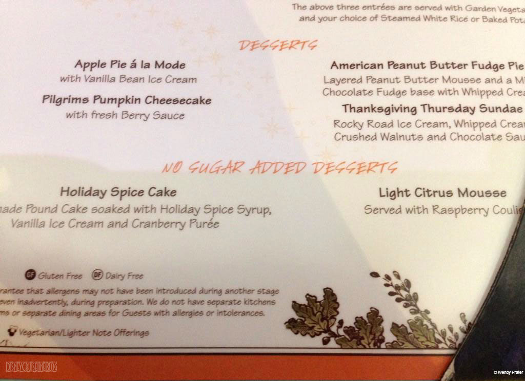 DCL Thanksgiving Menu 2014 Desserts