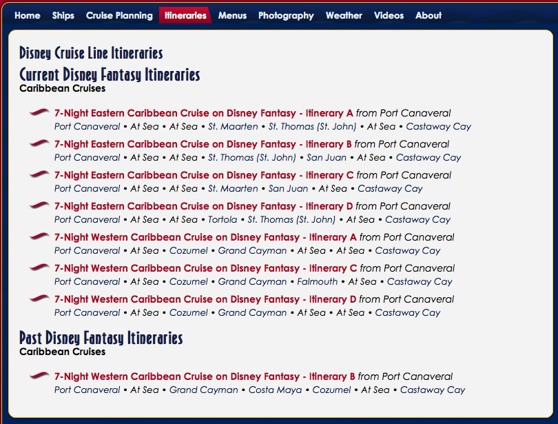 DCLBlog Itinerary Feature Fantasy Itineraries Overview