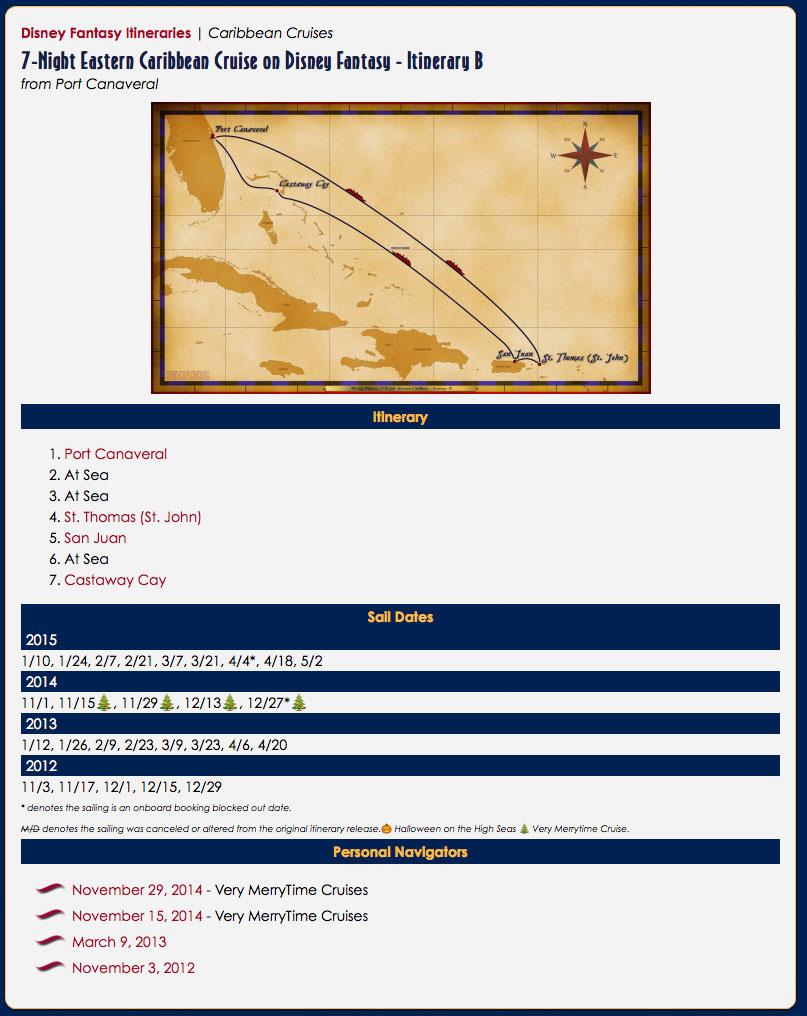DCLBlog Itinerary Feature Fantasy Itinerary Summary