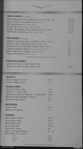 Disney Wonder Route 66 Cadillac Lounge Drink Menu Right November 2014