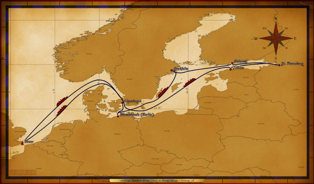 Map Magic 12 Night Northern Europe Cruise Itinerary A