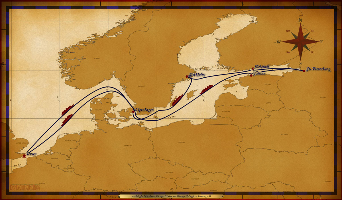 Map Magic 12 Night Northern Europe Cruise Itinerary B