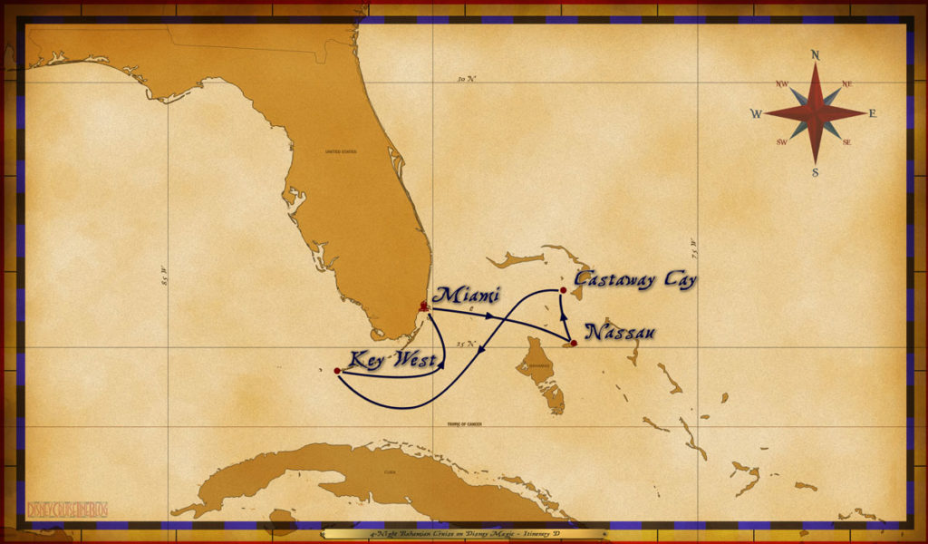 Map Magic 4 Night Bahamian Cruise Itinerary D