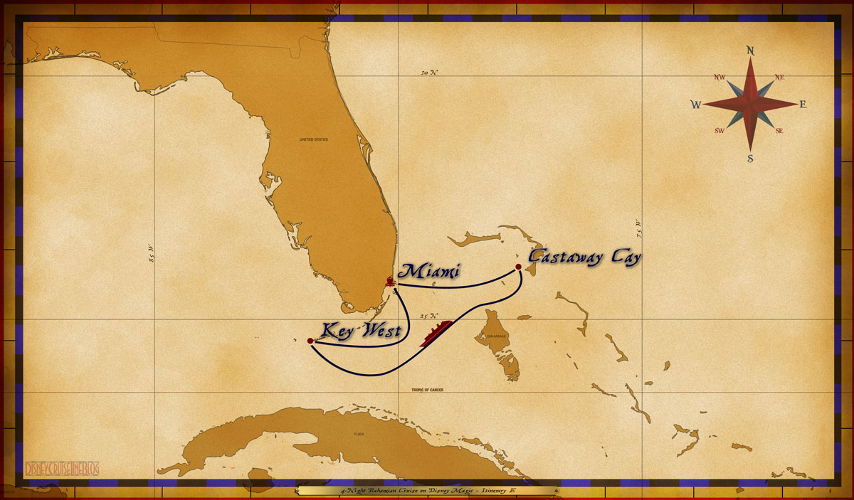 Map Magic 4 Night Bahamian Cruise Itinerary E