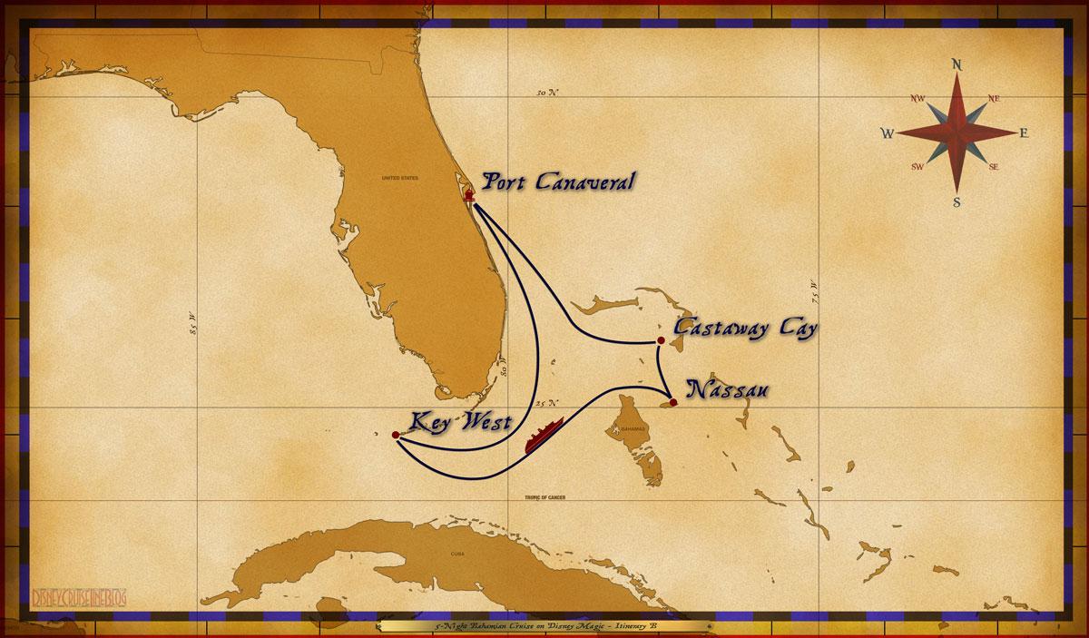 Map Magic 5 Night Bahamian Cruise Itinerary B